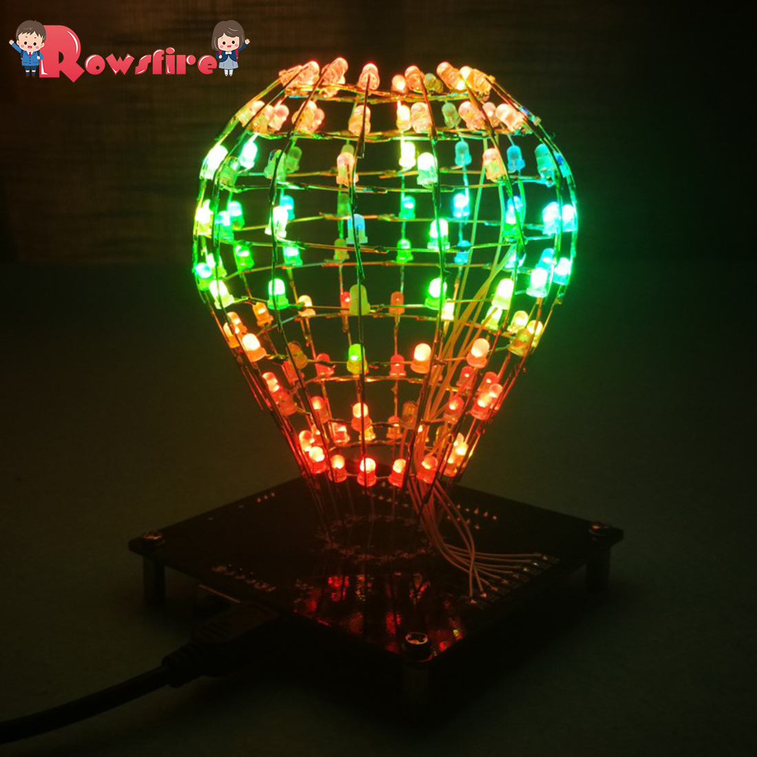DIY LED Display Lamp Infrared Remote Control DIY Welding Light Kits DIY Lamp Brain-Training Toy -Light Cube Ball(Colorful Parts)