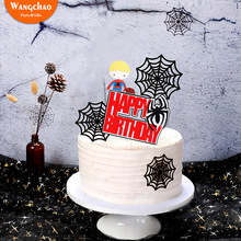 Spider Webs Super Hero Party Theme Happy Birthday Cake Topper Boys Kids Favors Supplies Decoration