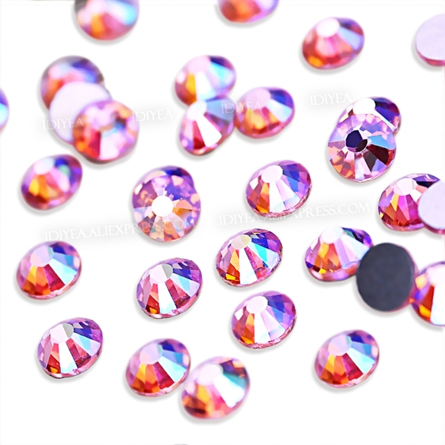 Pink AB SS3-SS30 Nails Rhinestones nails Non hot fix crystal strass glitters accessoires for DIY nail art decor manicure designs 1