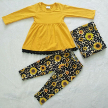 Children Girls Fall clothes girls outfits solid top with sunflower pants children kids boutique clothing