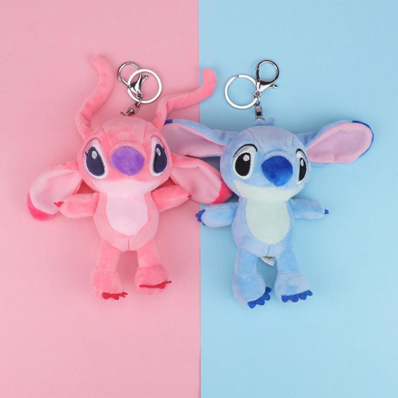 15cm Soft cartoon stitch <font><b>plush</b></font> <font><b>toys</b></font> stuffed animals small pendant <font><b>key</b></font> <font><b>chains</b></font> Christmas birthday gifts image