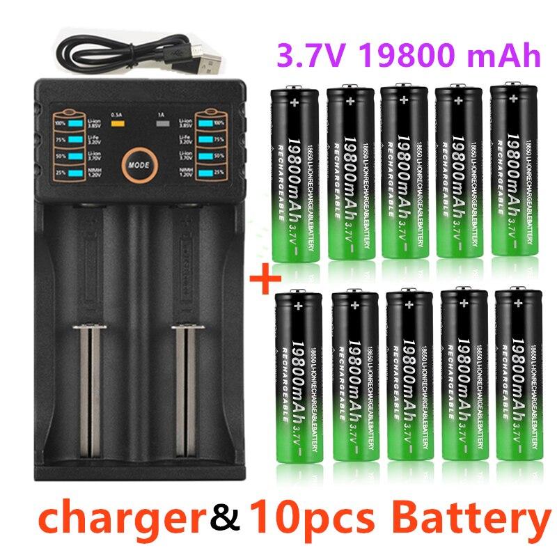 Novedad de 2020, batería de ion de litio 18650, batería recargable de 19800mah, batería de 3,7 V para linterna LED o dispositivos electrónicos, batería Baterías recargables    - AliExpress
