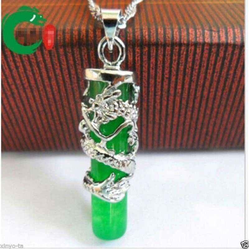 >> Dragon totem คอลัมน์จี้ทิเบตเงินหยกสีเขียว Necklac