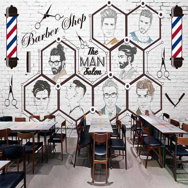 Barber Shop Hair Salon Wallpaper-Style 3D Cool Retro Modeling Wall Wallpaper Creative Brick Pattern Salon Mural