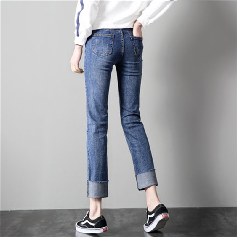 Women's Pants Newest Fashion Autumn High Waist Jeans Female Casual Long Trousers Elegant Straight Denim Cloth LWL486