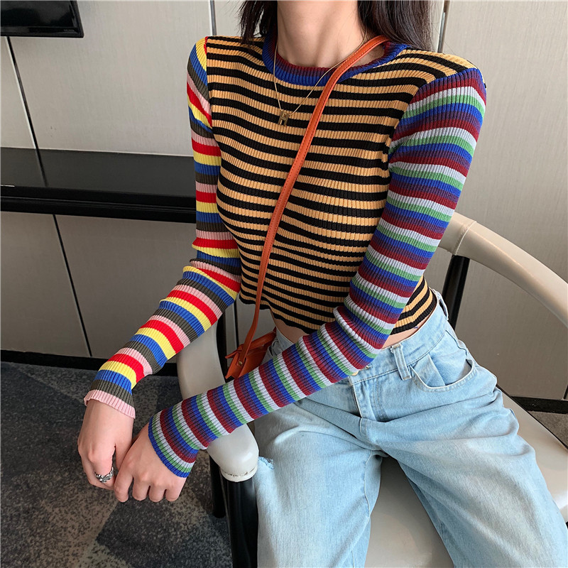 2019 Autumn Women Striped Sweater O-Neck Cropped Sweater Pullover Girls Contrast Color Full Sleeve Crop Top For Female