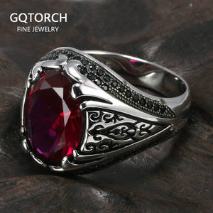 925 Silver Rings Jewellery Turkish Retro Women Luxury with Zircon-Stone Vintage for And
