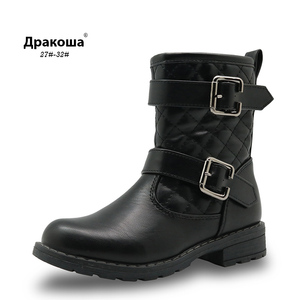 Image 1 - Apakowa Spring&Autumn Mid Calf Girl Boots for Kids Cotton Padded  Pu Leather Shoes for Girls Fashion Motor Boots with Buckles