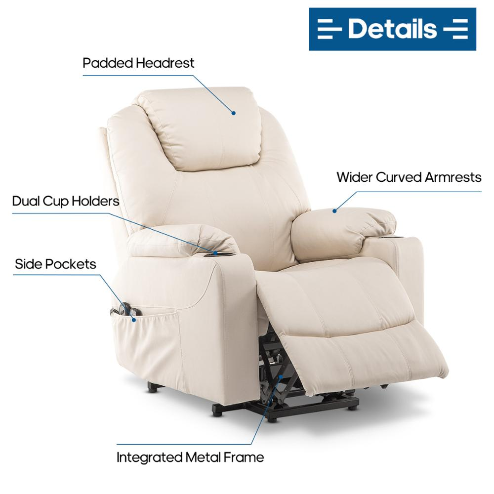 2021 Upgraded Electric Massage Chair Power Lift Recliner Chairs Leisure Soft Sofa Full Body Shiatsu Lounge Armchair for Elderly 5