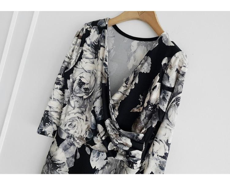 Floral Print Half Sleeve Sheath Knee-length Dress 11