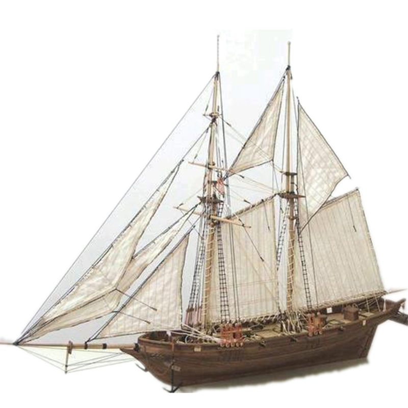 1/100 Scale HALCON 1840 DIY Sailboat Model Kit Toys Handmade Wooden Assembly Sailing Boat Children Toys Gift Kids Brain Training