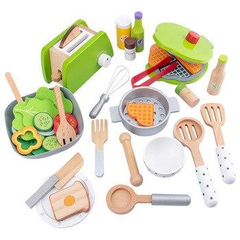 Máquina de cocina simulación de madera juguete para jugar a las casitas máquina de pan máquina de tortitas ensaladera niños aprender educación temprana juguete para regalo