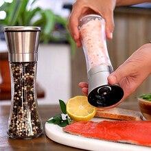 2 Teile/satz Salz und Pfeffermühle Set Edelstahl Pfeffer Mühle und Mit Glas Körper mit Einstellbare Keramik Grinder