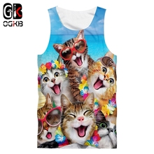 Tank-Top Sleevesless-Vest Streetwear 3d-Printed Summer Cat Harajuku Hip-Hop OGKB Oversize