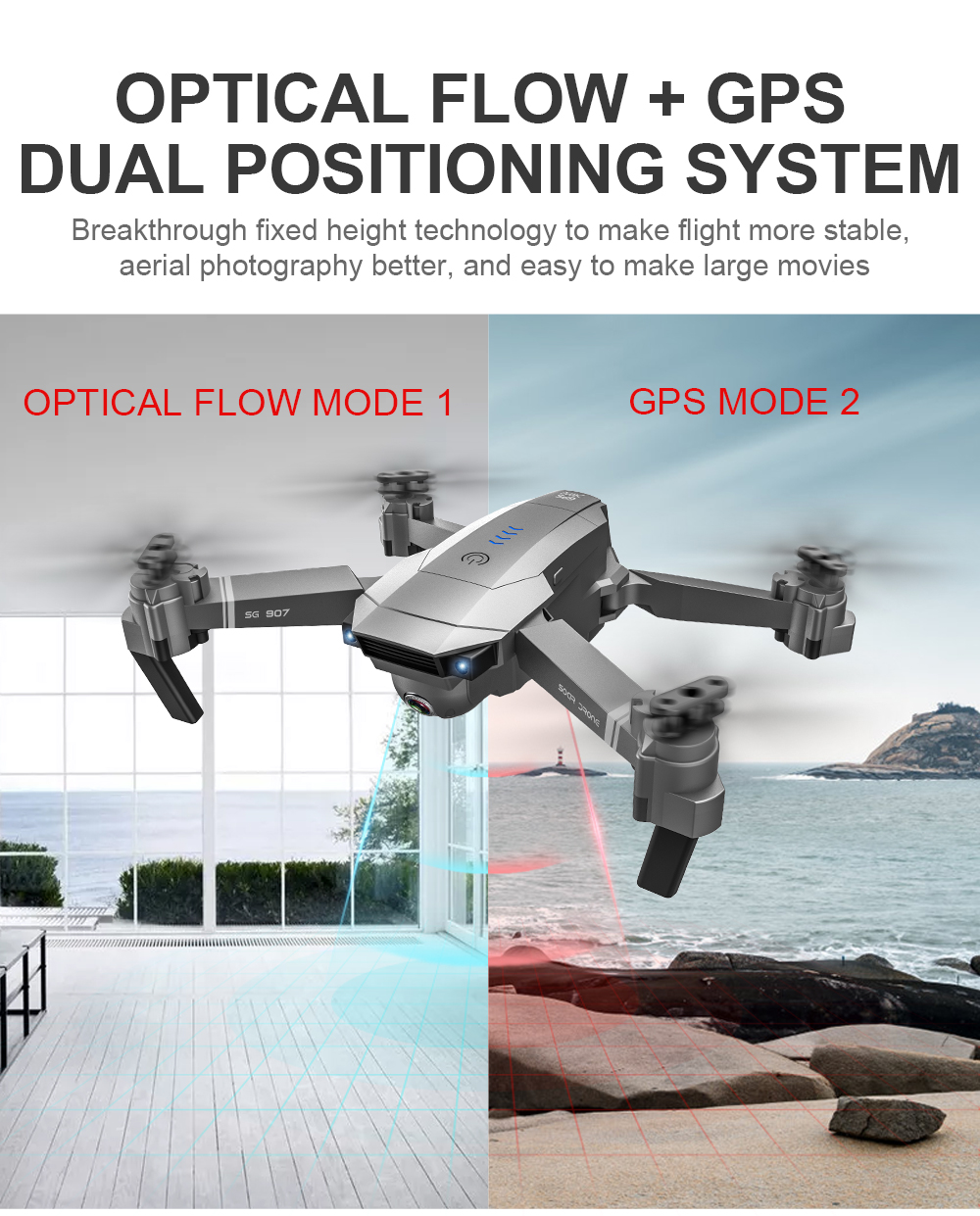 SG907 WIFI RC Quadcopter GPS Drone with 4K HD Dual Camera for Wide Angle Video Shooting 27