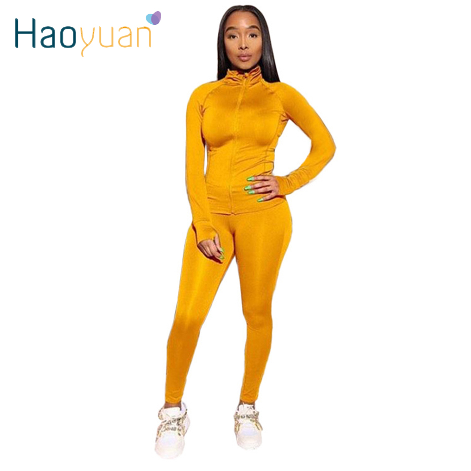 HAOYUAN 2 Piece Set Women Tracksuit Autumn Winter Clothes Long Sleeve Top+Jogger Pant Sweatsuit Matching Sets Two Piece Outfits