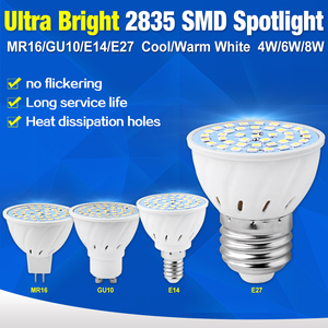 GU10 E27 MR16 E14 AC Lamp LED Bulb Base High Bright 2835 220V 48 60 80leds Lampada Spot light bombillas 4W 6W 8W led MR16