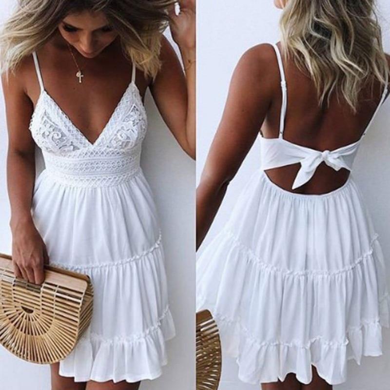 Sommer Frauen Sommer Kleid Sexy Bogen Backless V-ausschnitt Mini Strand Kleider Ärmellose Mini Rüschen Weiß Sommer Strand Kleid