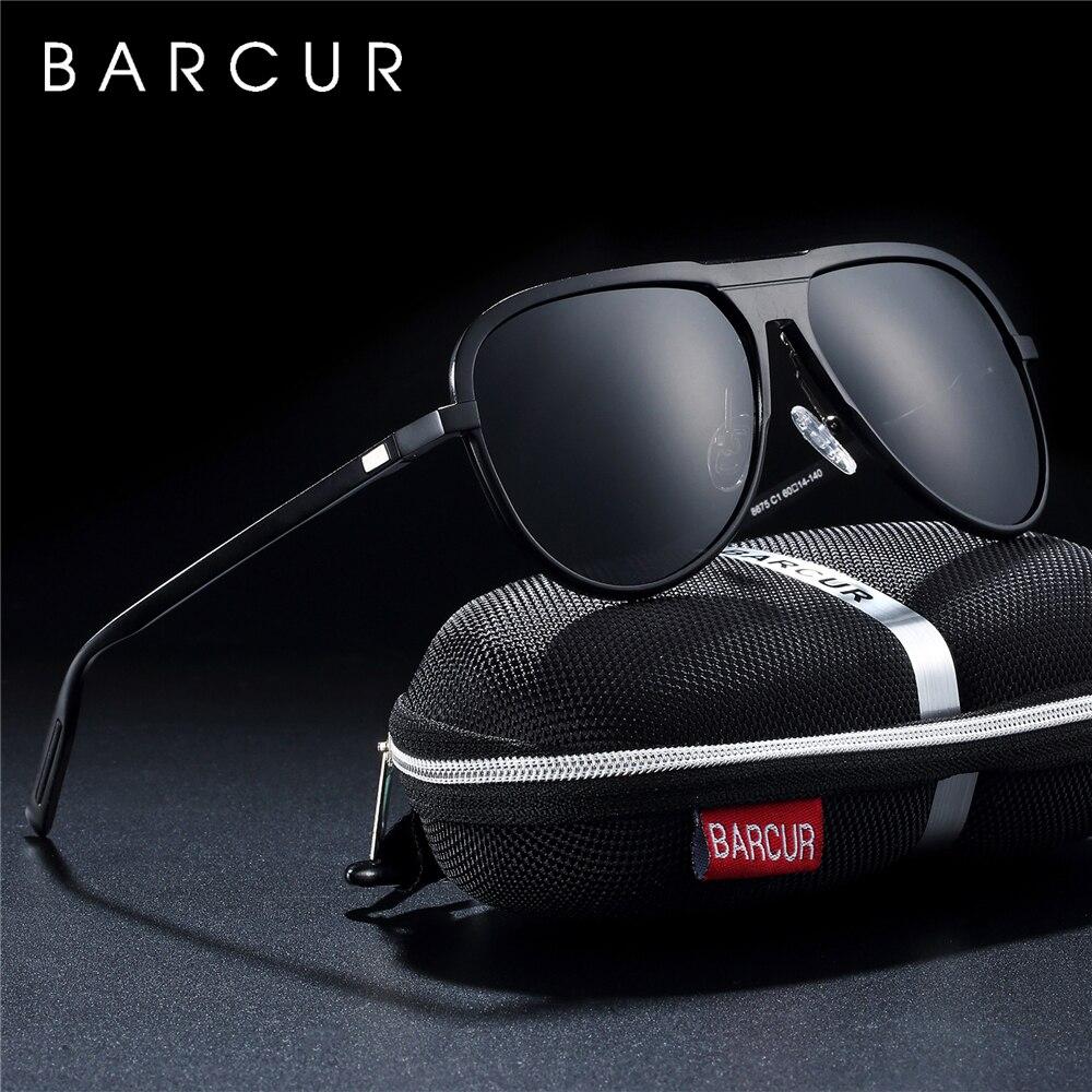 Мужские и женские солнцезащитные очки BARCUR, черные поляризованные солнцезащитные очки из алюминиево-магниевого сплава, спортивные очки