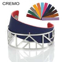 Cremo egypte Bracelets Manchette Bracelets Argent Femme Manchette acier inoxydable Bracelet réversible Interchangeable rayure Pulseiras