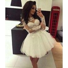 Temperament Wedding Dress Round Neck Lace Long Sleeve Skirt White Belt Sexy Wedding Dress