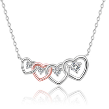XiaoJing 925 Sterling Silver Clear CZ Connected Heart Four Heart Pendant Necklace for Girlfriend Jewelry Valentine Day Gift цены онлайн