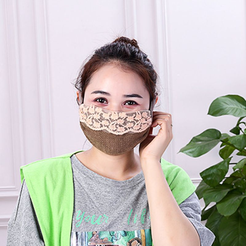 Women Girls Winter Faux Wool Thicken Warm Mouth Mask Embroidery Floral Lace Patchwork Anti Dust PM2.5 Sunscreen Earloop