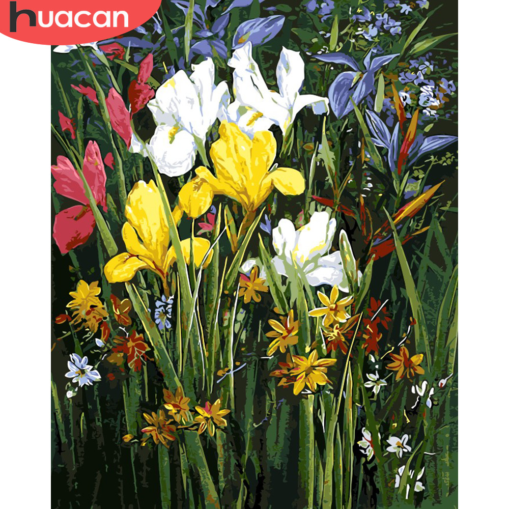 HUACAN Paint By Numbers Flowers HandPainted Oil Painting Drawing Kits Canvas DIY Pictures Home Decoration Gift