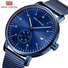 MINI FOCUS mode hommes montres haut de gamme marque de luxe montre à Quartz hommes étanche en acier inoxydable Relogio Masculino Reloj Hombre bleu
