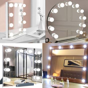 LED profesjonalne lustro do makijażu światło pełne podświetlane lustro USB ściemnialne lustro stołowe ze światłem 3 kolory Hollywood Vanity Lights tanie i dobre opinie JOOLAD CN (pochodzenie) PRZEŁĄCZNIK Led Makeup Mirror Light 12 v 2pcs 4pcs 6pcs 8pcs 10pcs 12pcs Warm White White Cold White