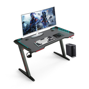 47 Inch Ergonomic Gaming Desk with RGB LED Light E-sports Computer Table Stand Desk Laptop Desk Pro Workstation with Cup Holder