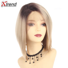 Xtrend Synthetic Lace Front For Black Women Short Bob Wigs Ombre Hair Blonde Cosplay lacefront blond Straight(China)