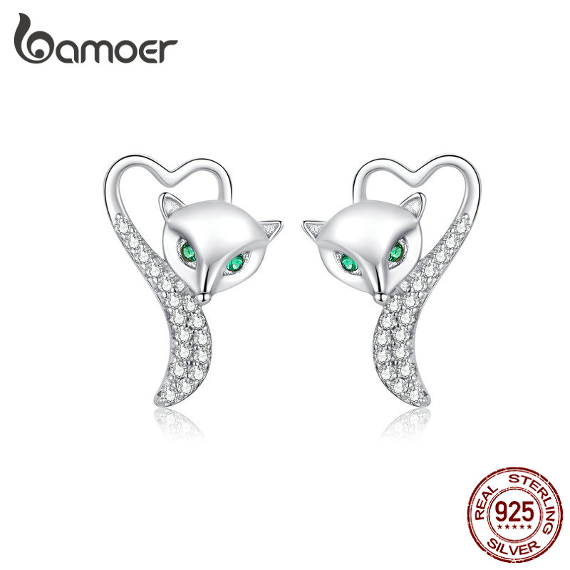 Bamoer Silver 925 Heart Fox Animal Stud Earrings For Women 925 Sterling Silver Clear CZ Statement Jewelry 2019 New BSE312