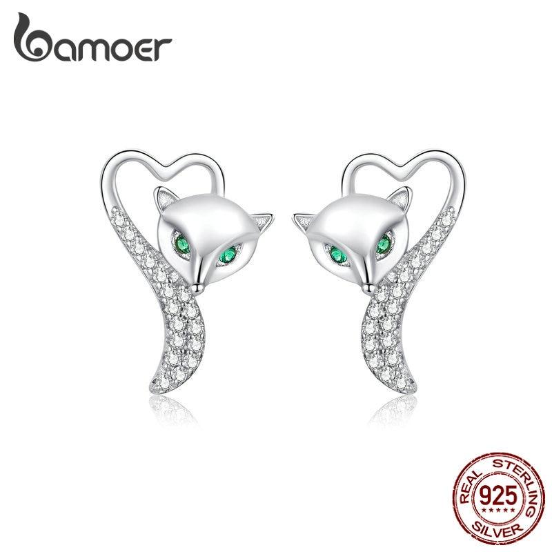 Bamoer Silver 925 Heart Fox Animal Stud Earrings For Women 925 Sterling Silver Clear CZ Statement Jewelry 2019 New BSE312