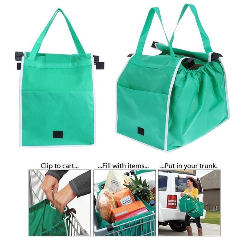 2pcs/set Supermarket Thicken Shopping Cart Bags Eco-Friendly Foldable Reusable Shop Handbag Portable Grocery Store Trolley Totes(China)