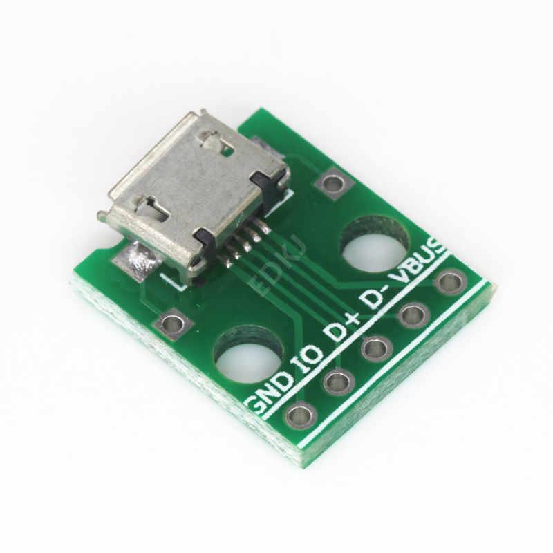 10PCS MICRO USB ไปยัง DIP ADAPTER 5PIN หญิงขั้วต่อ B ประเภท PCB Converter Breadboard สวิทช์บอร์ด SMT แม่ที่นั่ง