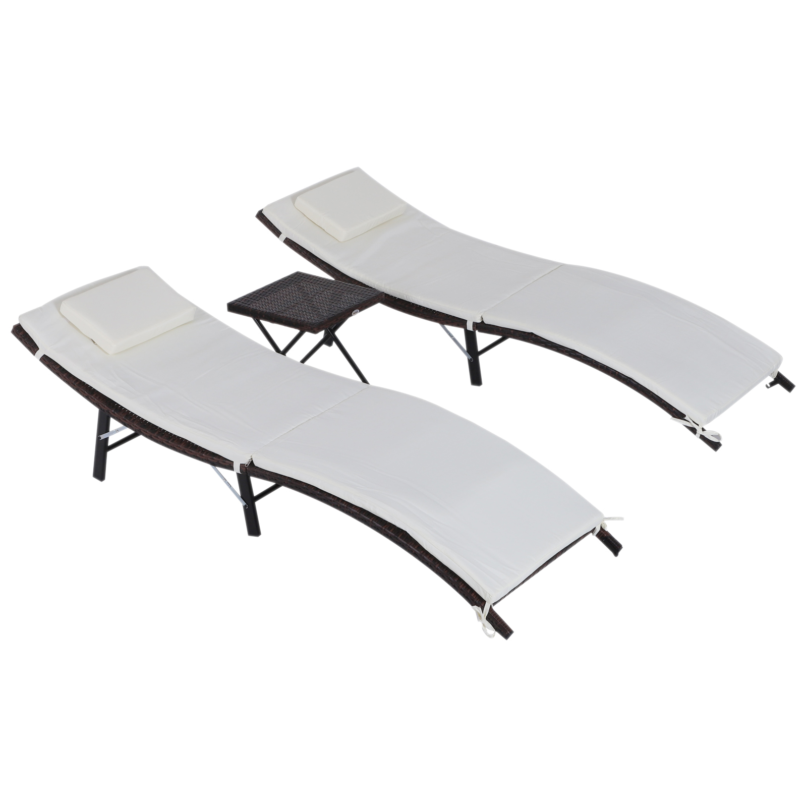 Outsunny Set 2 Lounger bed and table with removable pillows washable Design Folding Garden steel  rattan |Outdoor Bean Bag Sofas| |  - title=