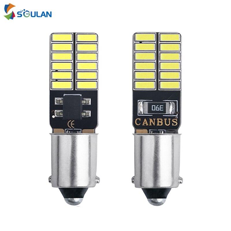 2pc Canbus BA9S T4W LED Car Light Bulb T2W T3W H5W 4014 24smd Car Instrument Lamp License Plate light 12V 12913 12910 White
