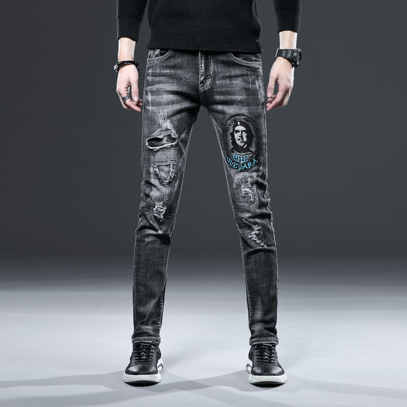 Free Shipping New Men's Male Denim Jeans Autumn Brand Ripped Straight Slim Retro Personality Embroidery Patch Printing Trousers
