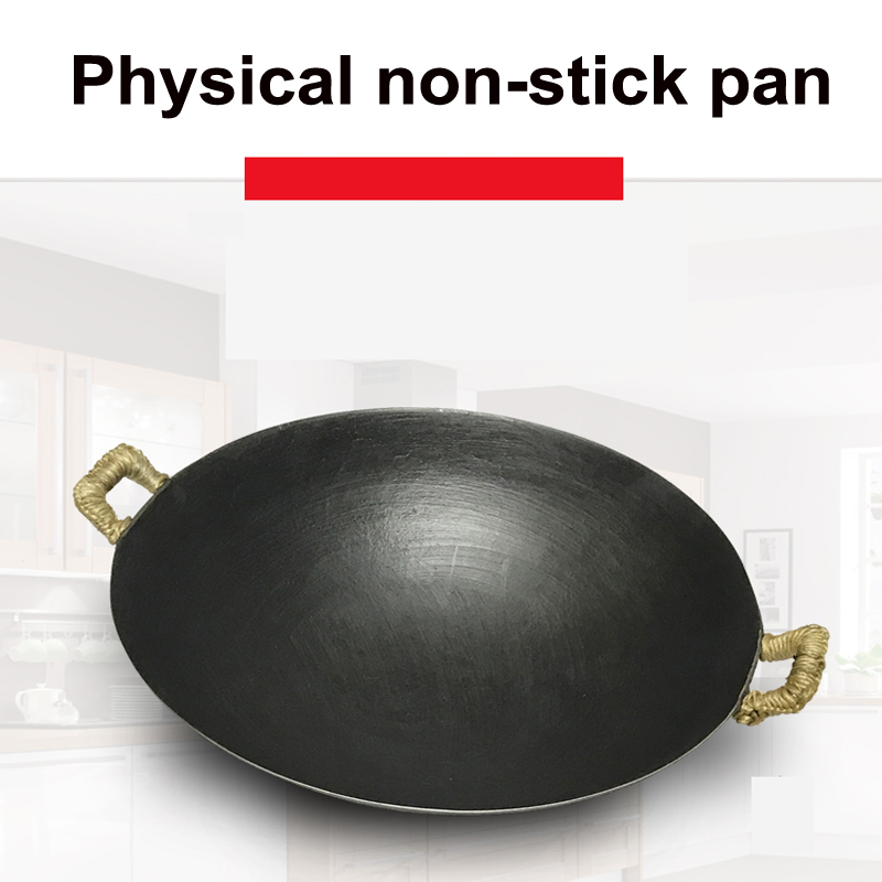 Double ear cast iron wok cooking pot no coating non stick classical camping outdoor Chinese Gas Cooker Cookware wok pan fry pan