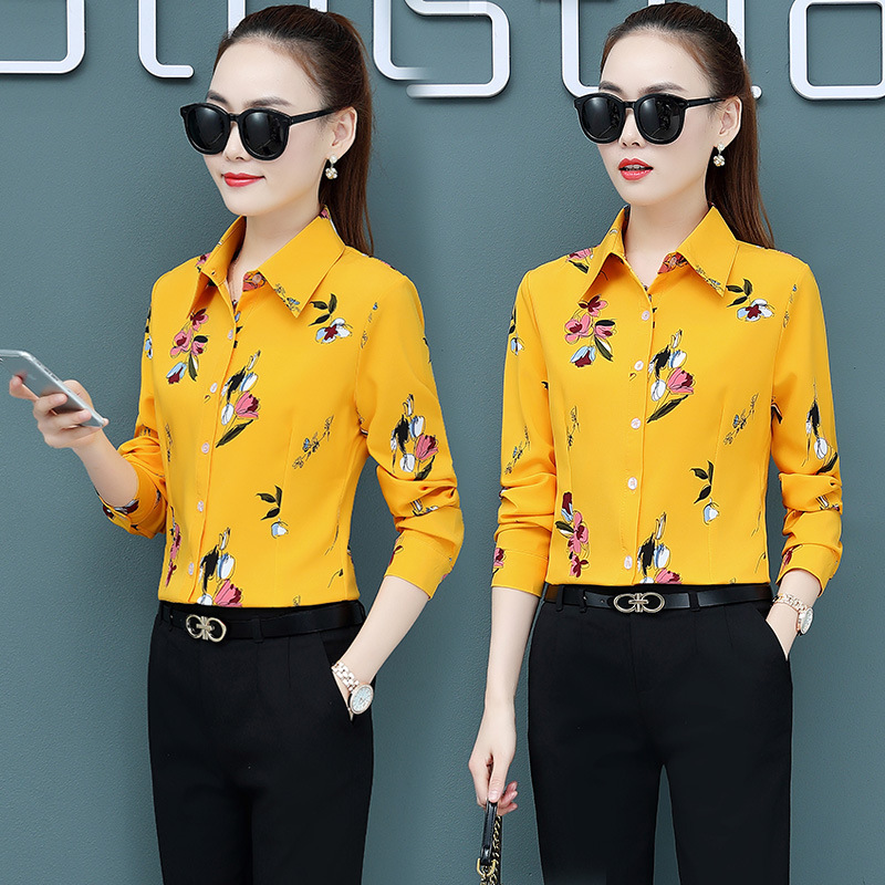 Korean Fashion Chiffon Women Blouses Vintage Long Sleeve Office Lady Shirt and Blouse Plus Size XXXL/5XL Womens Tops and Blouses