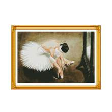A ballerina(2) cross stitch kit people 18ct 14ct 11ct count print canvas stitches embroidery DIY handmade needlework(China)
