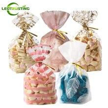 Bolsas de plástico con lazos de alambre para regalos, bolsas de embalaje para cumpleaños, fiesta de boda, repostería, refrigerio de galletas, galletas, dulces, palomitas de maíz, 50 Uds.