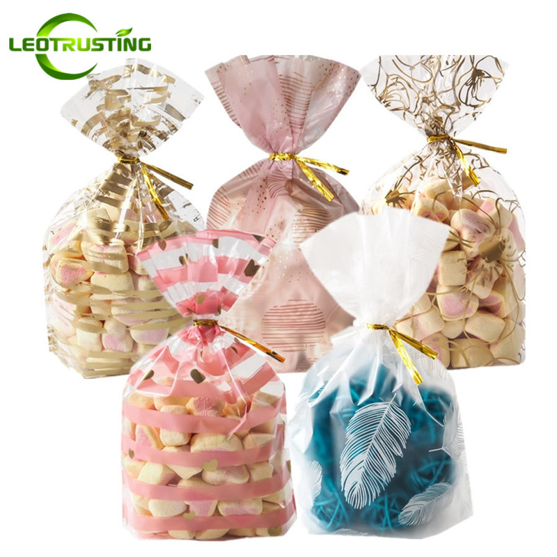 Leotrusting 50pcs/pack 23 Styles Plume Plastic Gift Packaging Bags Birthday Wedding Party Bakery Creative Cookie Candy Bags