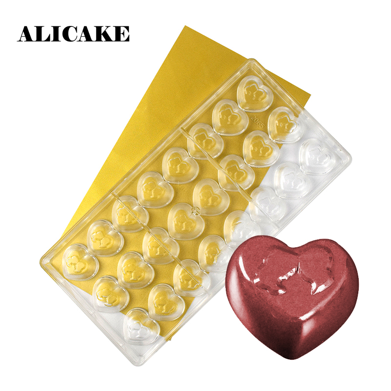 3D Chocolate Bar Mold Polycarbonate Heart Baking Molds Plastic Chocolate Candy Form Mould Baking Pastry Bakery Tools