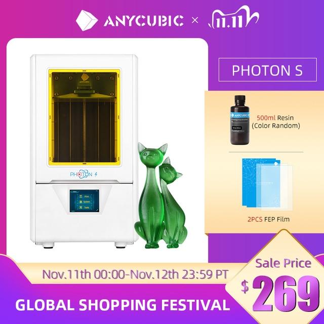 ANYCUBIC Photon S 3D Printer Dual Z axis Quick Slice 405nm Matrix UV Module SLA 3d Printer Resin Photon S Upgraded Impresora 3d