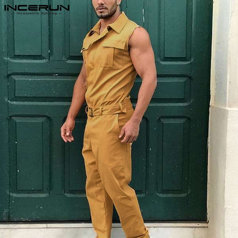 2020 Men Cargo Overalls Lapel Joggers Fashion Streetwear Sleeveless Jumpsuit Solid Pants With Belt Pockets Casual Romper INCERUN