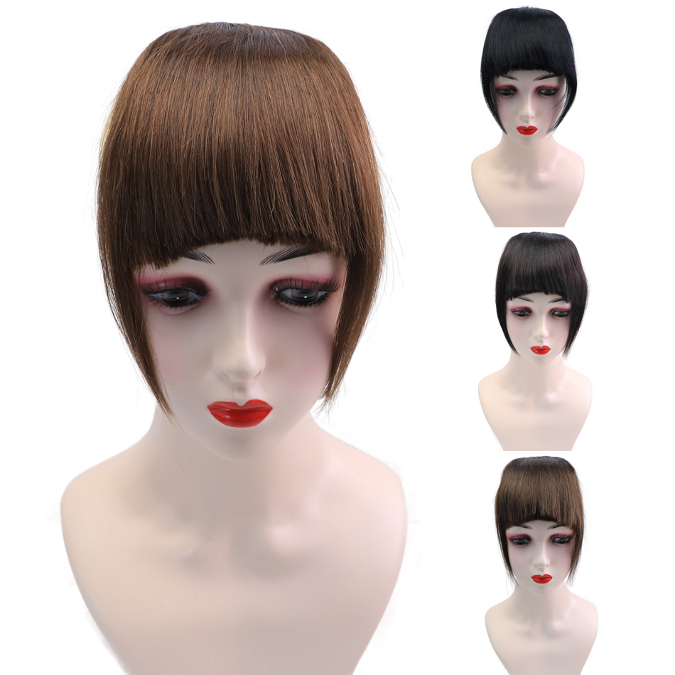 Bangs Fringe-Hair 3-Clips Isheeny Front-Extensions Brown In-Pieces Black Natural Remy
