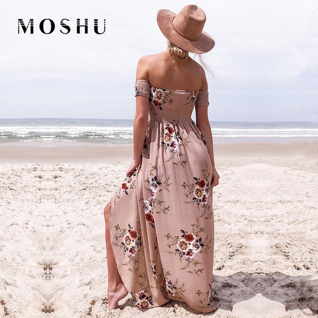 Sexy Dress Women Summer Beach Sundress Off Shoulder Maxi Dress Female Loose Boho Long Dresses Vestidos Robe Femme