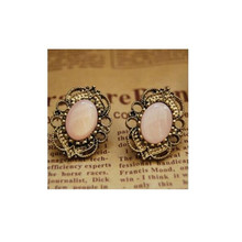 купить Hot Sale Vintage Oval Stud Earrings For Women Wholesale 1 Pair Fashion Pink Rose Earrings Free Shipping Bohemian Style дешево